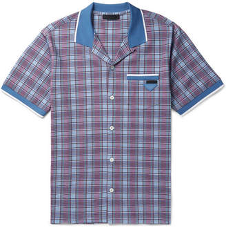 Prada Camp-Collar Checked Cotton Shirt