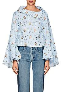 Wedgwood Teija TEIJA WOMEN'S FLORAL COTTON POPLIN BLOUSE - LIGHT SIZE 10 UK