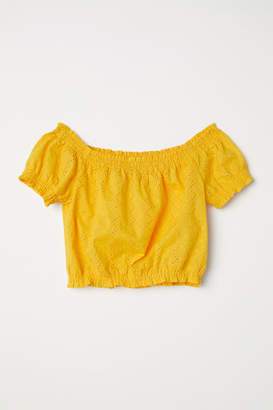 H&M Short Off-the-shoulder Blouse - Yellow