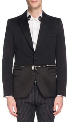 Alexander McQueen Men's Two-Button Jacket with Zip-Off Hem