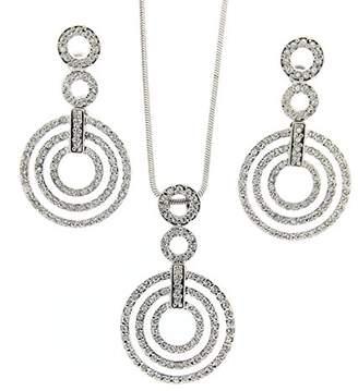 Jean Pierre Women's Jewellery Set Necklace Earrings Round Cut HESET4606 Glass White