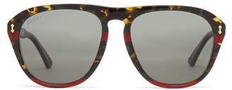 Gucci Web Striped Aviator Acetate Sunglasses - Mens - Brown