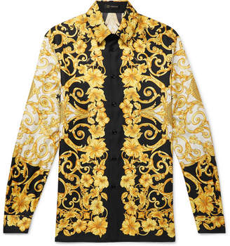Versace Printed Silk-twill Shirt - Black