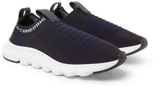 Ermenegildo Zegna Leather-Trimmed Techmerino Wool-Mesh Slip-On Sneakers