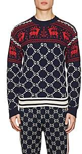 Gucci Men's Fair Isle & GG Supreme Wool Sweater - Navy