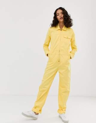M.C. Overalls zip front boilersuit in sherbet yellow