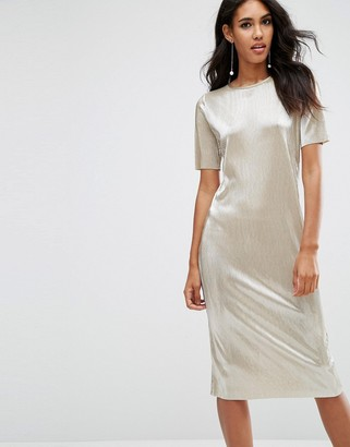 ASOS Gold Plisse T-Shirt Midi Dress $53 thestylecure.com