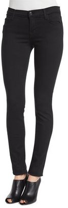 J Brand Mid-Rise Super-Skinny Ankle Jeans, Seriously Black $198 thestylecure.com