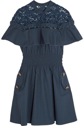 Self-Portrait - Hudson Guipure Lace-paneled Cotton-poplin Mini Dress - Midnight blue $425 thestylecure.com