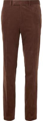 Kingsman Brown Slim-Fit Stretch-Cotton And Cashmere-Blend Corduroy Suit Trousers