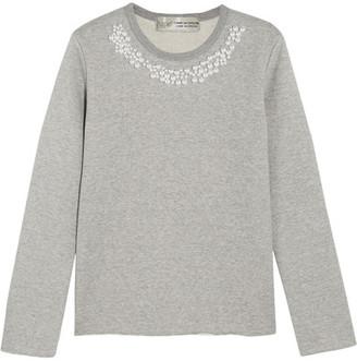 Comme des Garçons Comme des Garçons - Jupe By Jackie Faux Pearl-embellished Cotton-terry Sweatshirt - Gray $340 thestylecure.com