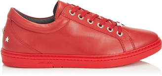 Jimmy Choo CASH Red Soft Leather Low Top Trainers