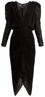 Isabel Marant Maray Devore Midi Dress - Womens - Black
