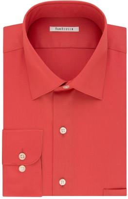 Van Heusen Big & Tall Regular-Fit Solid Lux Sateen No-Iron Spread-Collar Dress Shirt