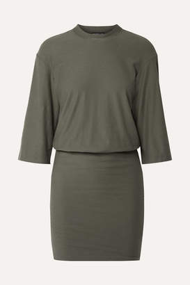 James Perse Stretch-cotton Jersey Mini Dress - Army green