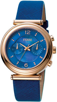 Ferré Milano Women's 36mm Stainless Steel Day/Date Watch with Leather Strap, Rose/Blue