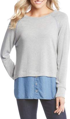 Karen Kane Raglan Sleeve Contrast Sweater