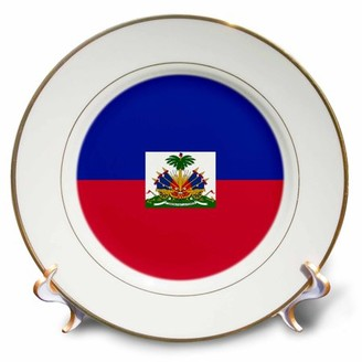 3dRose Flag of Haiti - Dark navy blue and red with Haitian coat of arms - Caribbean country world souvenir - Porcelain Plate, 8-inch