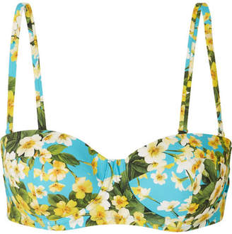 Dolce & Gabbana Floral-print Underwired Bikini Top - Light blue