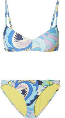 Emilio Pucci Printed Textured Bikini - Light blue