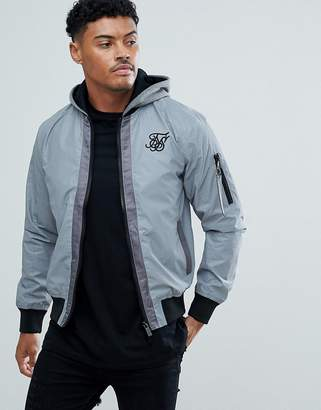 SikSilk Reflective Bomber Jacket With Hood