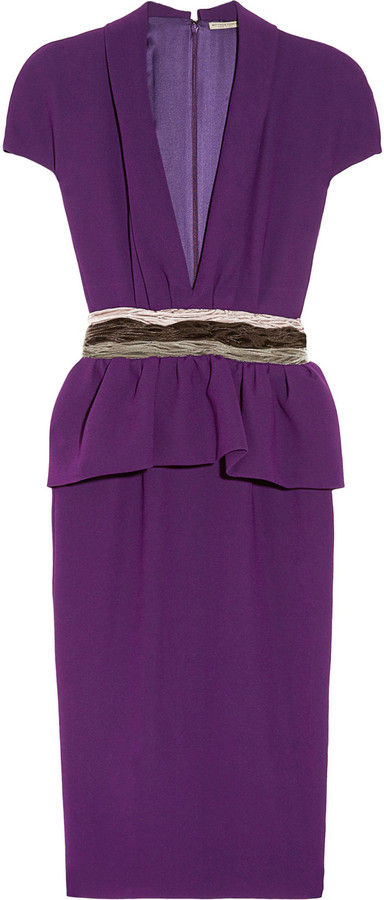 Bottega Veneta Japponaise velvet-trimmed crepe dress