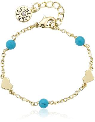 """Little Miss Twin Stars Classic! 14k Gold-Plated Turquoise Beads & Heart Station Bracelet/, 5.5"""" + .75"""""""