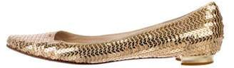 Manolo Blahnik Sequin Ballet Flats Gold Sequin Ballet Flats