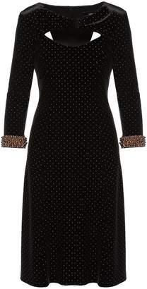 Nissa Midi Velvet Dress Black With Sleeves Details