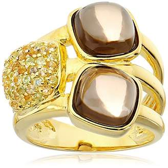 Gold Plated Smokey Quartz Ring with Pave Citrine and Peridot Ring