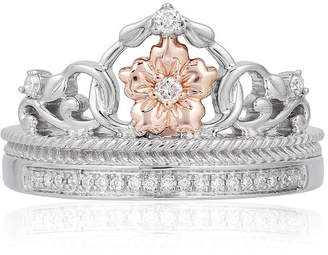 ENCHANTED .COM FINE JEWELRY BY DISNEY Enchanted Disney Fine Jewelry Womens 1/10 CT. T.W. Genuine Diamond 10K Rose Gold & Sterling Silver Promise Ring