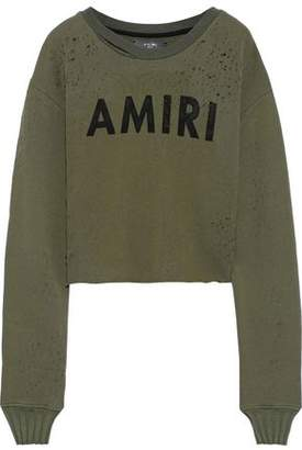 Amiri Cropped Distressed Printed French Cotton-terry Sweatshirt
