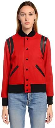 Saint Laurent Felted Wool & Leather Teddy Jacket