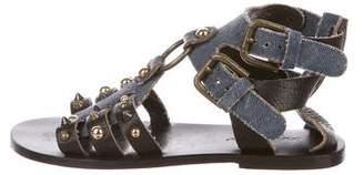 Dolce & Gabbana Denim Studded Sandals