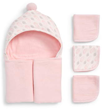 Elegant Baby Pink Feathers Hooded Towel & Washcloths Set
