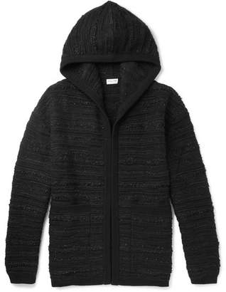 Saint Laurent Wool-Blend Boucle Hoodie - Men - Black