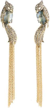 Alexis Bittar Crystal Encrusted Lovebirds Tassel Clip Earring