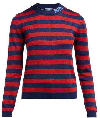 Prada Logo Intarsia Metallic Striped Sweater - Womens - Red Multi