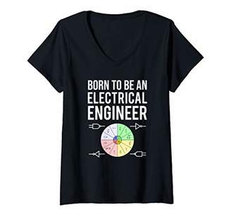 Womens Born To Be An Electrical Engineer Cool Engineering Student V-Neck T-Shirt