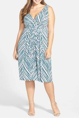 Tart Print Surplice Bodice Dress (Plus Size)