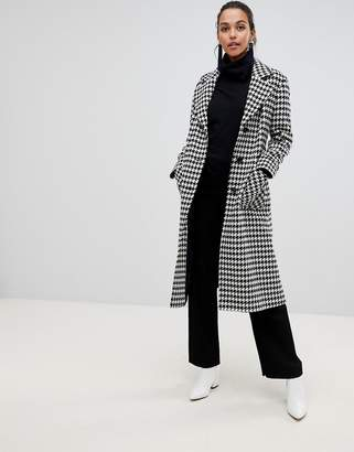 Helene Berman Longline Belted Hounstooth Check Coat in Wool Blend