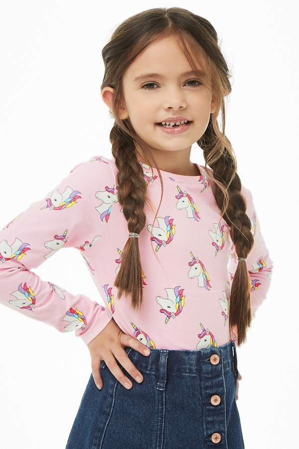 Forever 21 Girls Unicorn Print Bodysuit (Kids)