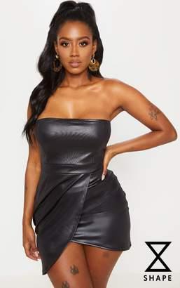 PrettyLittleThing Shape Black PU Bandeau Zip Back Bodycon Dress