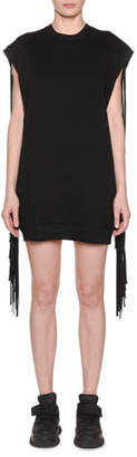 MSGM Sleeveless Crewneck Sweatshirt Dress w/ Fringe