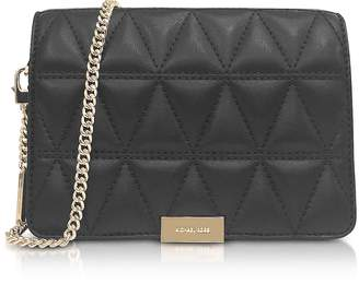 Michael Kors Jade Black Quilted-Leather Clutch
