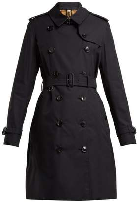 Burberry Kensington Gabardine Trench Coat - Womens - Blue