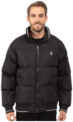 U.S. Polo Assn. Puffer Jacket with Striped Rib Knit Collar Men's Coat