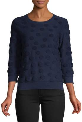 Lord & Taylor Petite Three-Quarter-Sleeve Dot Sweater