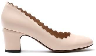 Daniel Scalloping Beige Leather Court Shoe