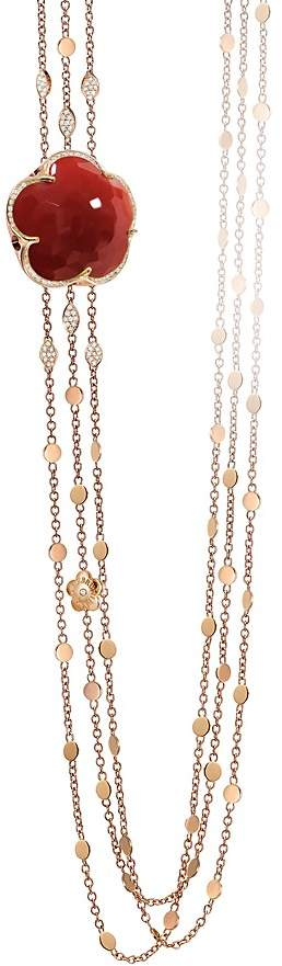 Pasquale Bruni 18K Rose Gold Bon Ton Diamond & Carnelian Multi Strand Necklace, 39.5